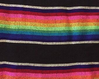 Ethnic Mexican Colorful Black Cambaya Woven Fabric Yard Tribal