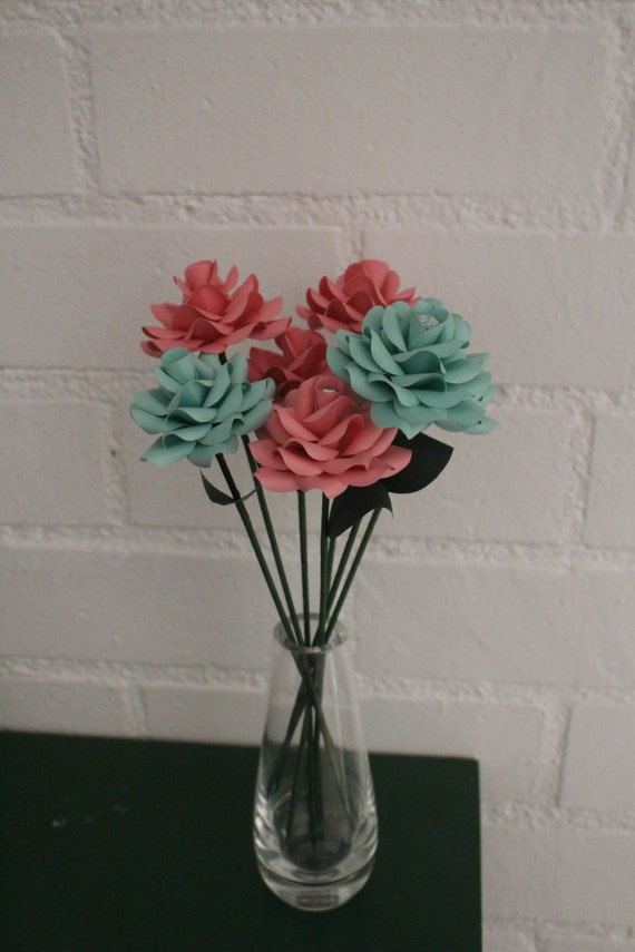 The I LOVE YOU Flower Peach or Teal Handmade Paper Flower, Hipster, Proposal Idea paper flowers, paper flower bouquet, paper flowers wedding
