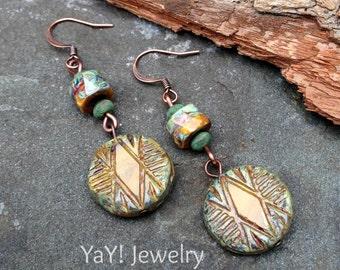 Basking Sun Earrings, Dangle Earrings, Czech Glass, Tribal Earrings, Tribal Jewelry, Earthy Chic Jewelry by YaY Jewelry
