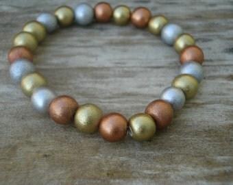 Wood Bracelet (metallic round)