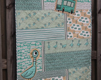 Mo Willems Don't Let The Pigeon Drive The Bus Organic Baby Quilt for Sale /  Baby Quilts / Crib Nursery Bedding / MADE TO ORDER