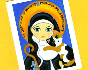 Saint GERTRUDE of Nivelles with CAT Blank Note CARDS - Set of 4 - from Folk Art by Jill