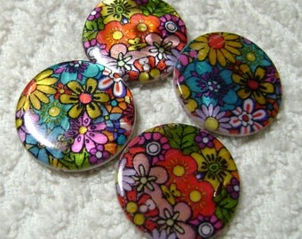 Spring Beads - Flower Shell Beads - Flat Disc Beads - Shell Beads - Shell Disc Beads - (25mm x 4mm) - (4 Pcs) - B-1702