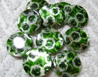 Coin Shell Beads - Green Roses Shell Beads - Green Flowers Shell Beads - Printed Flat Round - (20mm x 4mm) - (10 Pcs) - B-1686