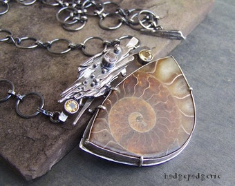 ANCIENT SEAS - Fossilized Ammonite, Citrine and Sterling Silver Necklace
