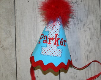 Aqua, Red and White First Birthday hat, Personalized Birthday Hat, Red, Aqua and White Birthday Hat, Cake smash birthday hat