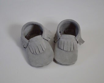 Silver suede moccasins for babies and toddlers