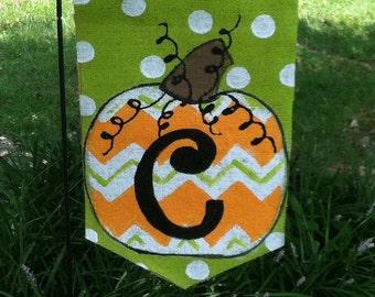 Chevron Pumpkin Burlap Yard Garden Flag Fall Autumn Outdoor Decor choose your Initial