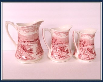 Vintage Alfred Meakin Pitchers, Set of 3, Pattern Tintern, England, Pink, Scenic, Farm, 1930's 1960's