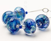Danube Sparkle Swirl - 5 Handmade Lampwork Glass Beads by Sarah Downton
