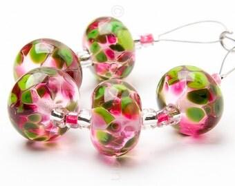 Raspberries 'n Green - Handmade Lampwork Glass Beads by Sarah Downton
