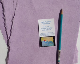 NEW Eight sheets of 8 x 10 inch handmade lavender abaca kozo paper