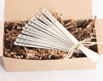 Bee Herb Garden Marker Set - Herb Stakes 10 Plant Labels Hand Stamped Metal Garden Decorations - Aluminum  Ready to Ship