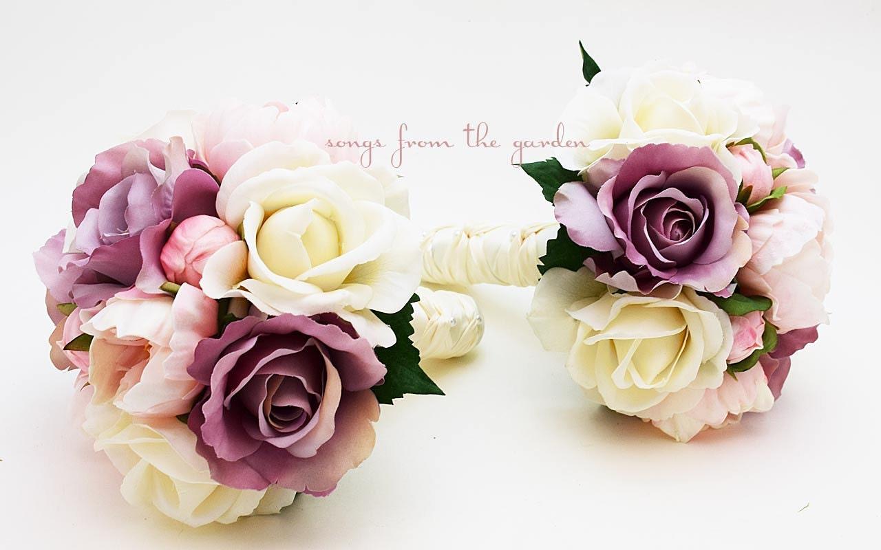 peonies roses lavender pink ivory wedding flower package. Black Bedroom Furniture Sets. Home Design Ideas