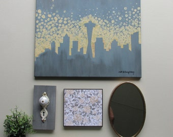 """wall art collection - """"Skyscraper"""" - original acrylic painting -  assemblage - framed artwork"""
