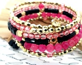 Chunky Bracelet Pink Black Gold Beaded Memory Wire, Simple Bead Chic Wrap Bracelet, Trendy Gifts for Mom, Sister, Friend, Mother In Law