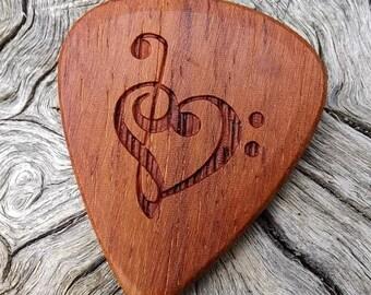 Mexican Granadillo - Handmade Premium Laser Engraved Wood Guitar Pick - Actual Pick Shown - No Stock Photos