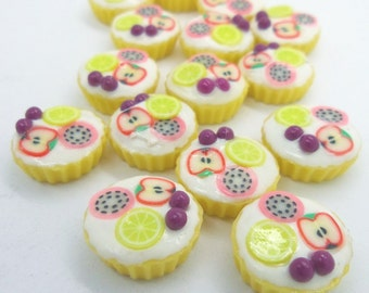 Miniature Polymer Clay Cupcake Supplies for Dollhouse, set of 12 pieces