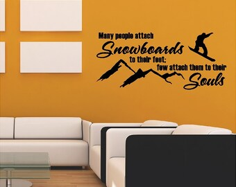 Snowboarding Wall Quote Words Sayings Removable Snowboard Wall Decal Lettering