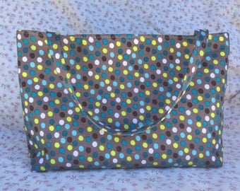 Polka Dots with Lime Green Lining Project Bag or Tote