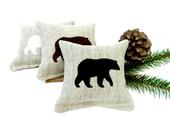 Maine Balsam Sachet with Bear - Linen Sachet with Handmade Applique - Maine Balsam Bear Pillow