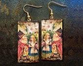 Alice in Wonderland polymer clay earrings