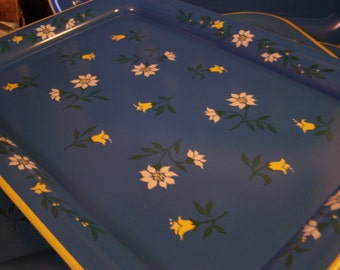 Vintage Metal Serving Trays, (4) Blue w/Yellow & White Flowers, 1950s