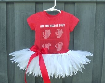 Beatles Tutu Dress OOAK All You Need Is Love Tutu Dress Size 12 months