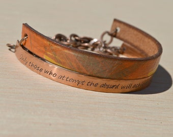 leather and copper stamped bracelet