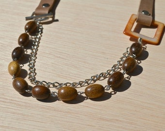 long leather wood bead and chain necklace