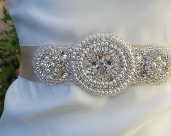 Rhinestone Pearl Wedding Belt, ALICIA, Bridal Belt, Wedding Sash, Pearl Sash, Rhinestone Sash, Bridal Sash, Crystal Belt