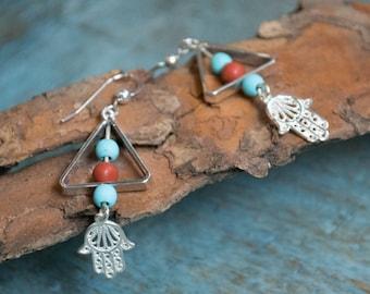 Turquoise earrings, Hamsa earrings, Silver earrings, Hand of Fatima earrings, long earrings, boho earrings, stone earrings - Purpose E8022
