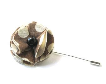 Brown flower lapel pin with polka dots, boutonniere, lapel men's brooch, stick pin, dotty flower brooch