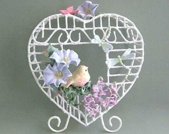 Baby Shower Gift Baby Nursery Bird Cage Decor Clay Flower Birdcage Decor White Birdcage with Bird Decorative Floral Birdcage Decoration
