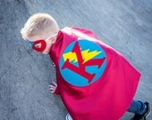 Boy Halloween costume - RED and TURQUOISE Personalized Boy Superhero cape - FAST Shipping - Kids Custom Reversible Capes Toddler, Child