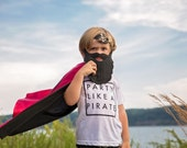 Red and Black PIRATE costume CAPE for easy Halloween costume -  costume cape- pirate skull and crossbones