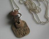 Lake Michigan stone necklace-stone and charm necklace-handmade necklace-ball chain necklace