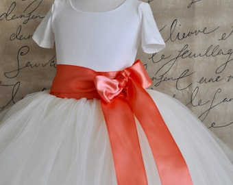 Coral and ivory Flower Girl tutu tulle skirt. Full length.