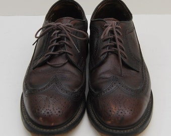 mens 1970s dark brown leather wingtop oxford shoes