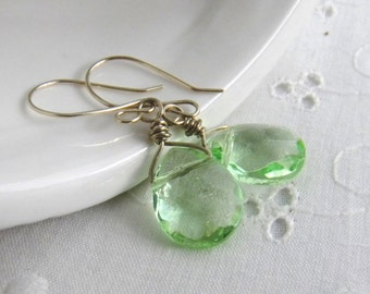 Green Teardrop Dangle Earrings Briolettes Spring Green St Patricks Day Womens Fashion Translucent Earrings