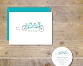 Tandem Bike, Wedding Thank You Cards, Tandem Bike, Just Married, Just Married, Bridal Shower, Thank You Cards, Bikes, Affordable Wedding
