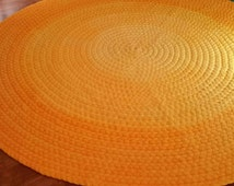 """60"""" round cotton braided rug Deep yellow ombre"""