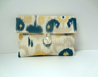 Ready To Ship Cosmetic Bag - Cream, Blue and Yellow