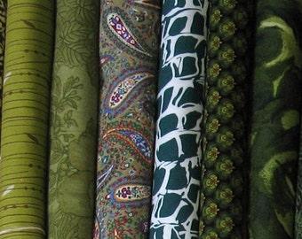 Eight Dark Green Fat Quarters, Fat Quarter Bundle, Cotton Quilt Fabric Bundle, Fabric for Sale, FQBGreen2