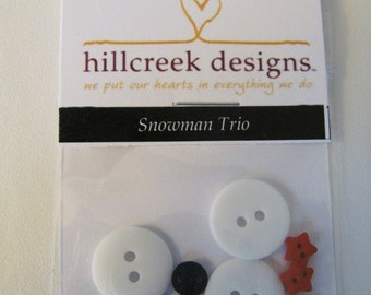 Snowman Trio Button Pack from Hillcreek Designs B237-QDD