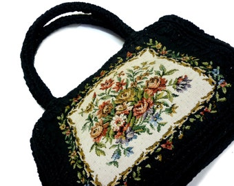 Vintage 50s Tapestry Petit Point Handbag Purse - Black Crochet Sides, Handles and Base - Snap Closure - Lined in Black Faille w. Side Pocket