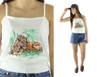 Vintage 80s Tank Top Lion Screen Print Tee Sleeveless Shirt Knit Top 1980s Hippie Boho Fashion White Blouse Casual Top Medium M