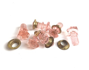 FREE SHIPPING Vintage Small Pink Hoosier Hexagon Drawer Pulls E2106