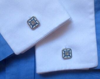 Antique / Vintage Art Deco Style Kum-A-Part Cuff Links - Elegant Enamel Blue, White & Silver Cuff Links