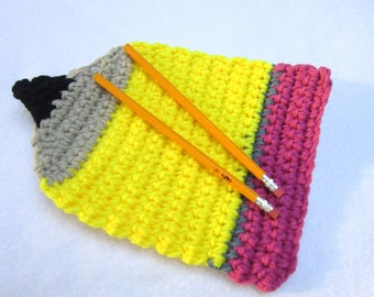 Back to School Pencil Hot Pad, Crochet Pencil Teacher Gift, No. 2 Pencil Table or Wall Decor by Charlene